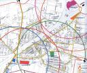 Fragment analizy porównawczej pięciu lokalizacji nowego targowiska w Tłuszczu. Kolorowe koła to zasięg terenów znajdujących się w promieniu 1 km od danej lokalizacji. W analizie najkorzystniej wypadła lokalizacja B (mat. nadesłany)