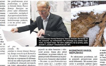 Przewodniczący Komisji Rewizyjnej Tadeusz Groszek. Po prawej: rów przy ul. Zaściankowej