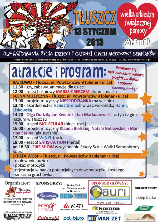 Program WOŚP w Tłuszczu 2013