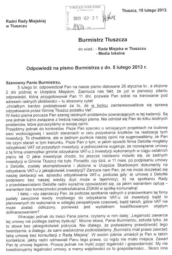 """Pismo radnych z Klubu """"Razem dla Gminy"""" - sprawa Deloitte - str 1"""