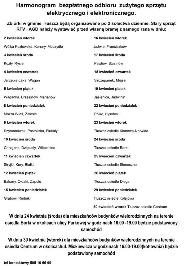 harmonogram_zbiorki_elektrosmieci_Tluszcz2013