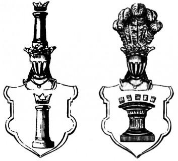 """Herb Pierzchała w dwóch wersjach podanych przez Bartosza Paprockiego w """"Herbach rycerstwa polskiego"""" z 1584 r."""