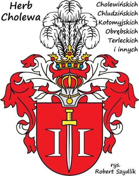 Herb Cholewa: W polu czerwonym miecz między dwiema klamrami oblężniczymi srebrnymi barkami ku sobie. W klejnocie nad hełmem pięć piór strusich.